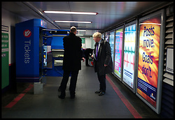 London Mayor Boris Johnson on a visit to Finsbury Park Station on the day he launches his Transport manifesto, London, Monday March 26, 2012. Photo By Andrew Parsons/i-Images