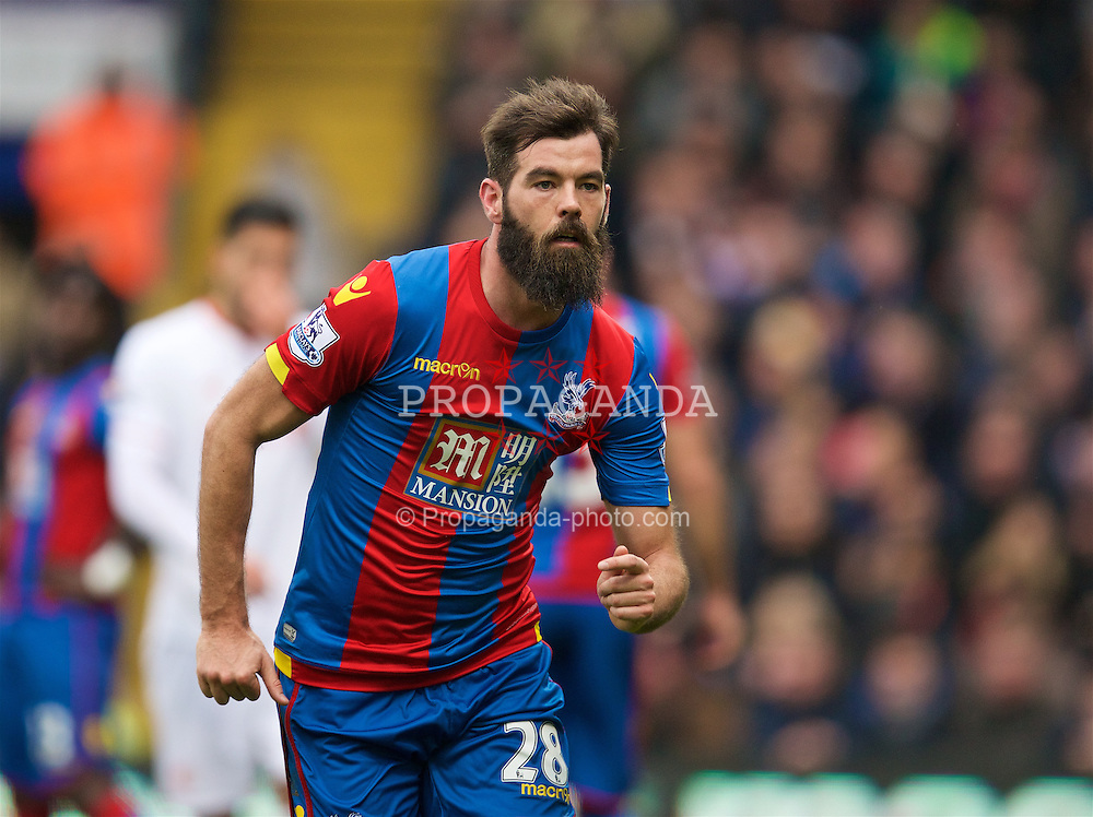 LONDON, ENGLAND - Sunday, March 6, 2016: Crystal Palace's Joe Ledley in action against Liverpool during the Premier League match at Selhurst Park. (Pic by David Rawcliffe/Propaganda)