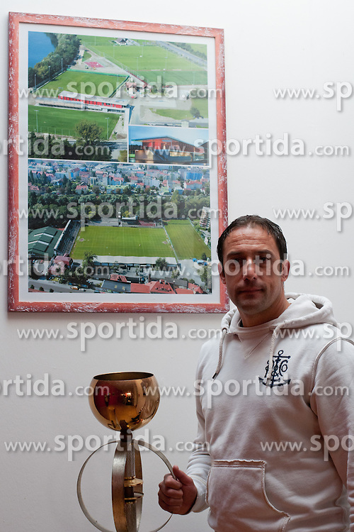 Ales Ceh, head coach of GAK, and the picture of Grazer AK Training center, on October 14, 2011 at GAK Training center, Graz, Austria. (Photo By Matic Klansek Velej / Sportida)