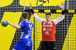 Gal Marguc of RK Celje PL vs Rok Zaponsek of RK Gorenje during handball match between RK Gorenje Velenje and RK Celje Pivovarna Lasko in Round #19 of 1st NLB League 2015/16, on February 24, 2016 in Rdeca dvorana, Velenje, Slovenia. Photo by Vid Ponikvar / Sportida