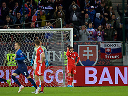 TRNAVA, SLOVAKIA - Thursday, October 10, 2019: Wales' Connor Roberts looks dejected as Slovakia score an equalising goal to level the score 1-1 during the UEFA Euro 2020 Qualifying Group E match between Slovakia and Wales at the Štadión Antona Malatinského. (Pic by David Rawcliffe/Propaganda)