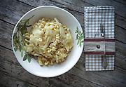 Fusilli with cabbage, vegetarian cuisine recipe.