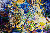 blue yellow objects abstract: multicolored image with swirls of bright tones and shapes