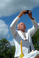 "Mexico, Yucatan, Mayapan, October 17, 2010. Mayan high priest Ildelfonso Ake Cocom conducts a ""saka"" purification ceremony on the grounds of Mayapan, a ruined Yucatecan capital city dating from the period between 1220 and 1240 AD. Photographs commissioned by SECTUR."