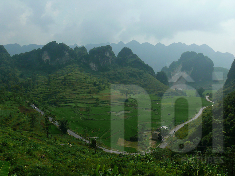 Cao Bang area in the north of Vietnam. Mountainous landscape.