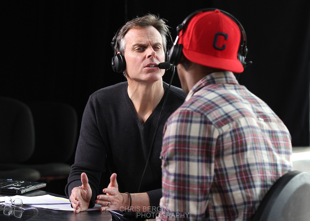 Colin Cowherd talks to Packers TE Jermichael Finley on the set of The Herd on ESPN at Pan Am Plaza in Indianapolis, Ind. Friday February 3, 2012. .Photo by Chris Bergin