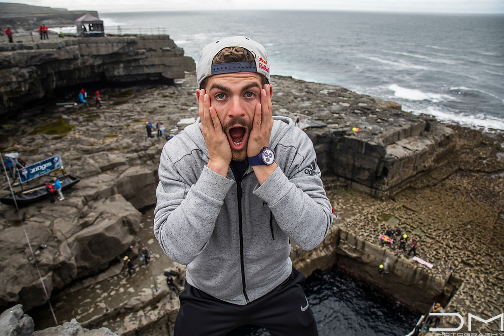 David Colturi before jumping at the Red Bull Cliff Diving series in Ireland