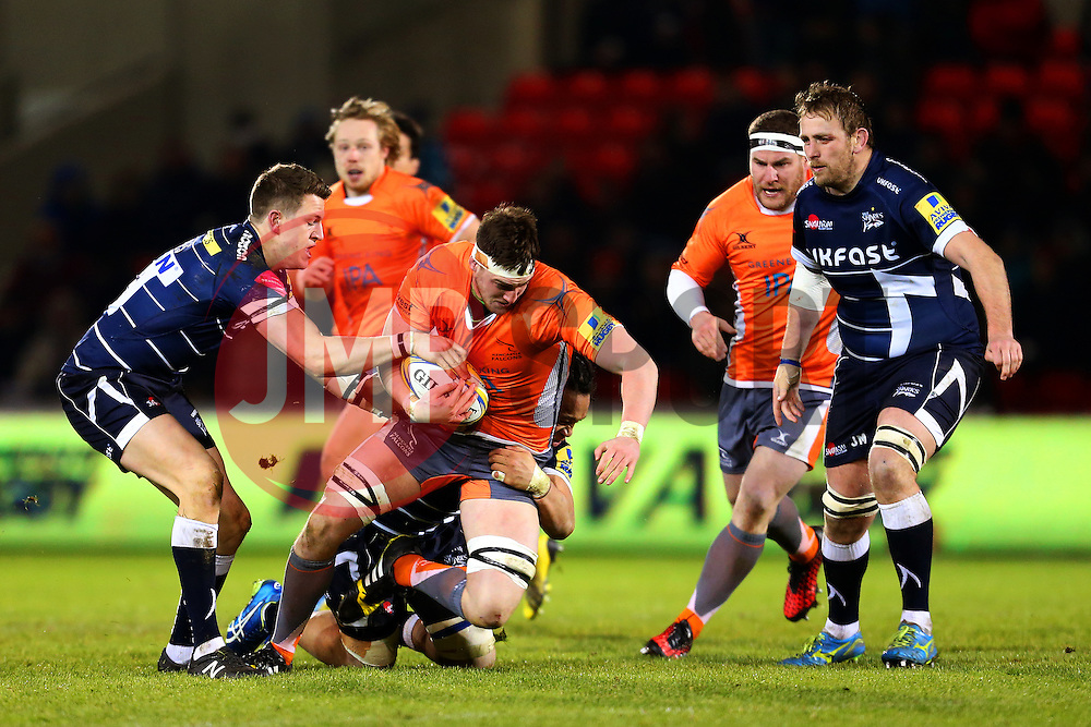 Sean Robinson of Newcastle Falcons is tackled  - Mandatory by-line: Matt McNulty/JMP - 10/02/2017 - RUGBY - AJ Bell Stadium - Sale, England - Sale Sharks v Newcastle Falcons - Aviva Premiership
