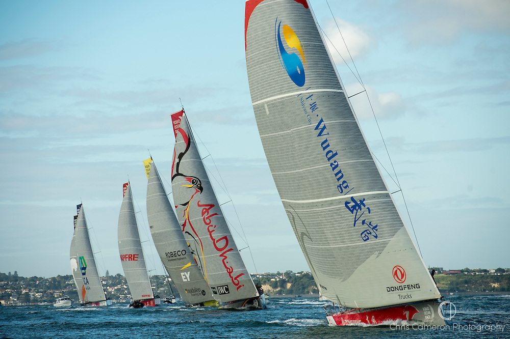 The Volvo Ocean Race fleet start leg 5 in the Waitamata Harbour Auckland bound for Itajai, Brazil. Dongfeng Race Team skippered by Charles Caudrelier (FRA) lead to the first turning mark.18/3/2015