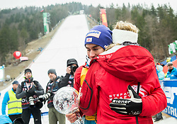 Marisa Probst with her boyfriend Stefan Kraft (AUT), winner in Overall Ski Jumping World Cup classification celebrates  after the Ski Flying Hill Men's Individual Competition at Day 4 of FIS Ski Jumping World Cup Final 2017, on March 26, 2017 in Planica, Slovenia. Photo by Vid Ponikvar / Sportida