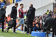 Aston Villa midfielder Jack Grealish (10) shakes hands with Aston Villa manager Dean Smith as he is substituted during the EFL Sky Bet Championship match between Birmingham City and Aston Villa at St Andrews, Birmingham, England on 10 March 2019.
