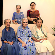 Relatives of Sir Mirza Ismail, a pioneer who helped Bangalore attain its modern outlook and vision. He became the the Dewan (chief minister) of Mysore state<br /> in 1926. Standing L to R : Naznee Khaleeli and Nagineh Rizvi. Sitting L to R : Zahra Begum, Sayeda Mirza and Bebe Khanum.