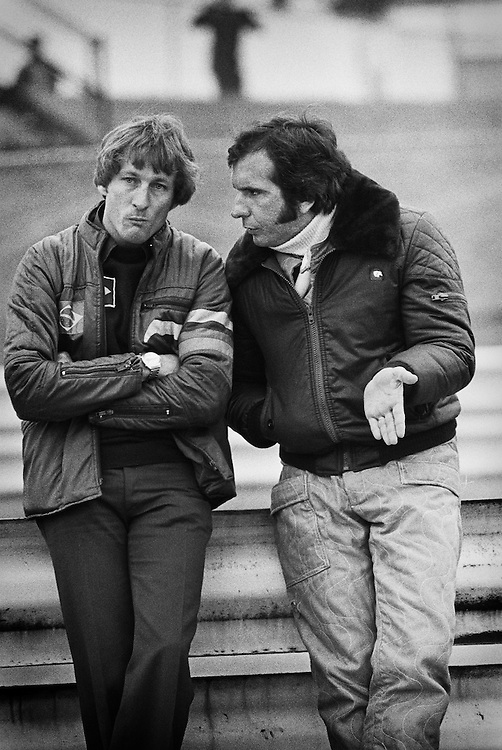 Two-time World Champion Emerson Fittipaldi shocked Formula 1 when he left McLaren for his brother Wilson&rsquo;s underfunded Brazilian-based Copersucar-Ford team in 1976. Here, in 1977, Fittipaldi continued to struggle with the car and  pleads with mechanic Dave Luff for any solution that could cure the car&rsquo;s lack of grip. <br /> <br /> Fittipaldi would struggle with the car and the team until 1980 when he would retire from Formula One...a career that ended much to early for the talent that remained. <br /> <br /> By 1984,  Fittipaldi couldn't resist the excitement of the sport any longer, and turned to the United States and IndyCar. Feeding himself slowly back into competition, he regained his fire and began his second successful career in motorsports, winning the Indianapolis 500 in 1989 and 1993, along with the CART Championship that year.