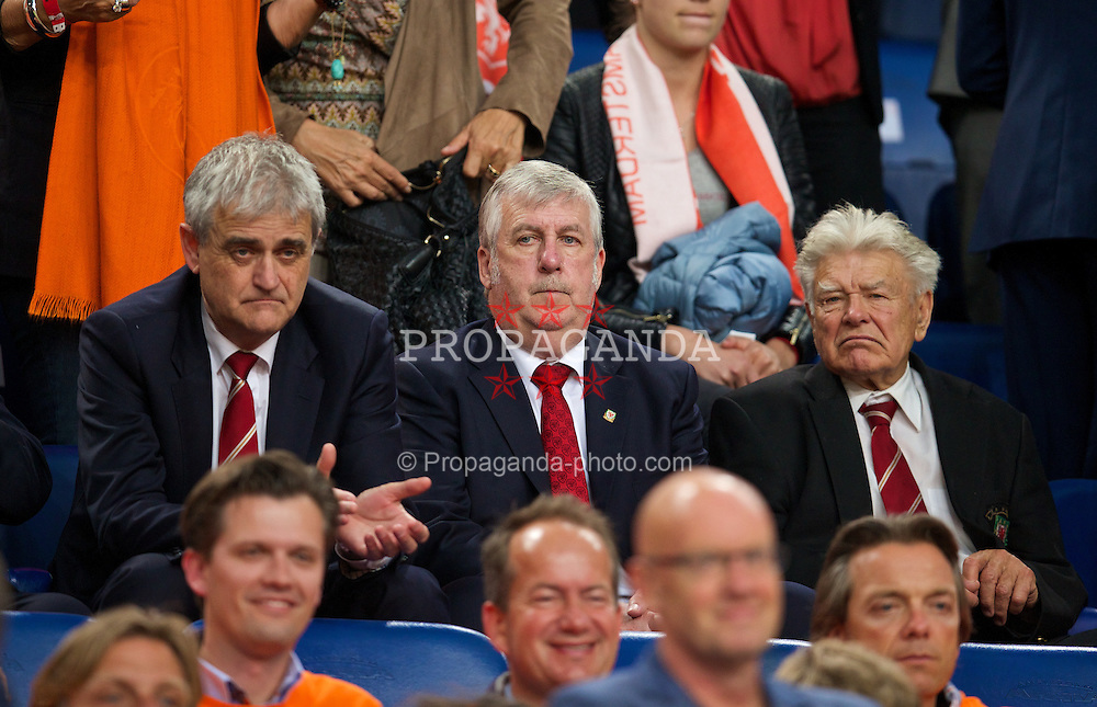AMSTERDAM, NETHERLANDS - Wednesday, June 4, 2014: Wales' council members Phil Jones, Bob Fry and Brian Fear before the International Friendly match against the Netherlands at the Amsterdam Arena. (Pic by David Rawcliffe/Propaganda)