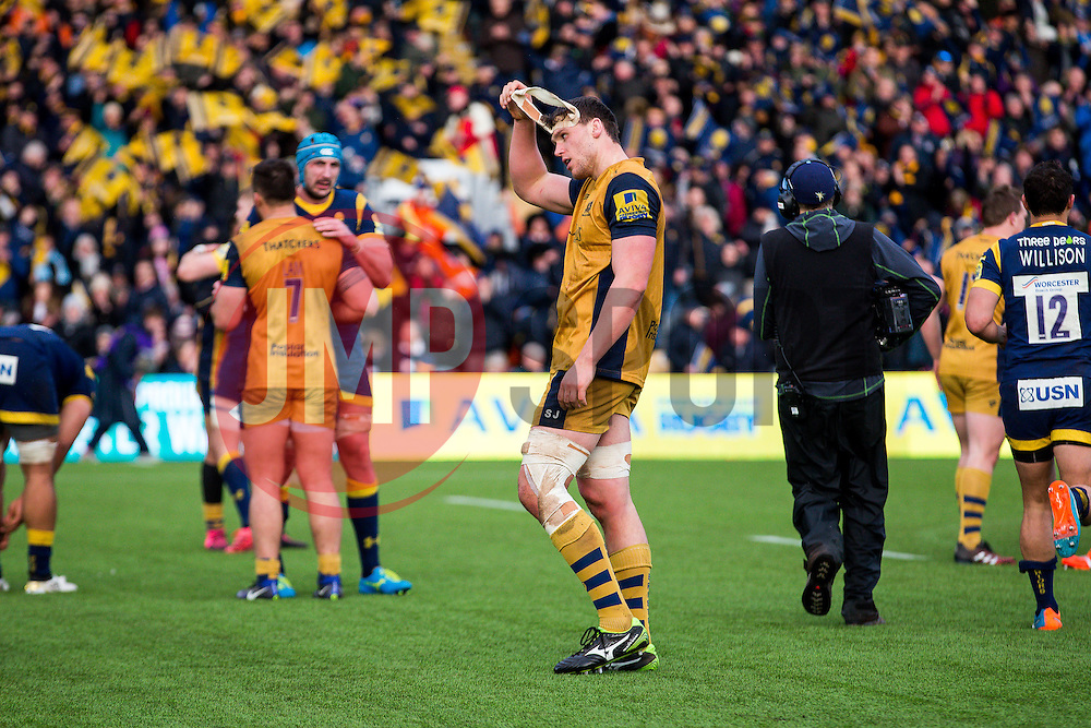 Sam Jeffries of Bristol Rugby looks dejected after Worcester Warriors win 41-24 to strengthen their position over Bristol at the foot of the Aviva Premiership table - Rogan Thomson/JMP - 04/03/2017 - RUGBY UNION - Sixways Stadium - Worcester, England - Worcester Warriors v Bristol Rugby - Aviva Premiership.