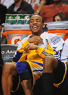 Feb. 10, 2011; Phoenix, AZ, USA; Golden State Warriors guard Monte Ellis (8) reacts from the bench against the Phoenix Suns at the US Airways Center. The Suns defeated the Warriors 112 - 88. Mandatory Credit: Jennifer Stewart-US PRESSWIRE
