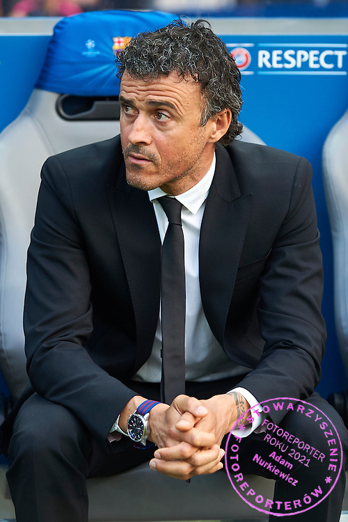Luis Enrique trainer coach of Barcelona looks at the pitch during the 2014/15 UEFA Champions League Final between Juventus and FC Barcelona at Olympiastadion on June 6, 2015 in Berlin, Germany.<br /> Germany, Berlin, June 6, 2015<br /> <br /> Picture also available in RAW (NEF) or TIFF format on special request.<br /> <br /> For editorial use only. Any commercial or promotional use requires permission.<br /> <br /> Adam Nurkiewicz declares that he has no rights to the image of people at the photographs of his authorship.<br /> <br /> Mandatory credit:<br /> Photo by &copy; Adam Nurkiewicz / Mediasport
