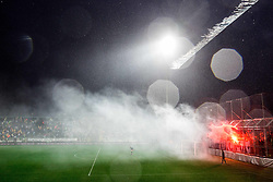 Torcida, fans of Hajduk celebrate during football match between HNK Rijeka and HNK Hajduk Split in Round #15 of 1st HNL League 2016/17, on November 5, 2016 in Rujevica stadium, Rijeka, Croatia. Photo by Vid Ponikvar / Sportida