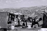 Syrian refugees internally displaced at Atmeh camp Idlib Syria