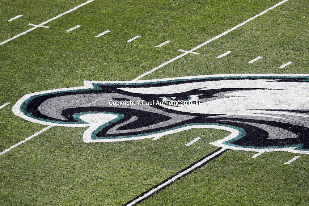 The team logo is painted on the field grass in this overhead, general view photograph taken before the Philadelphia Eagles 2015 week 10 regular season NFL football game against the Miami Dolphins on Sunday, Nov. 15, 2015 in Philadelphia. The Dolphins won the game 20-19. (©Paul Anthony Spinelli)