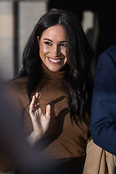 "London, UK. 7 January, 2020. The Duchess of Sussex leaves Canada House in Trafalgar Square after visiting with the Duke of Sussex to thank the Canadian High Commissioner for the ""warm hospitality"" and support received by them during a six-week sabbatical in Canada over Thanksgiving and Christmas."