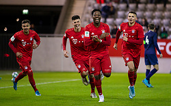 MUNICH, GERMANY - Wednesday, December 11, 2019: Bayern Munich's Bright Akwo Arrey-Mbi (C) celebrates scoring the second goal during the final UEFA Youth League Group B match between FC Bayern München and Tottenham Hotspur at the FC Bayern Campus. (Pic by David Rawcliffe/Propaganda)