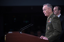 Chairman of the Joint Chiefs of Staff, Marine Gen. Joseph F. Dunford, Jr., updates the media on the defeat of the Islamic State of Iraq and Syria during a joint press conference with Defense Secretary Jim Mattis at the Pentagon in Washington, D.C., May 19, 2017. (DOD photo by Army Sgt. Amber I. Smith)