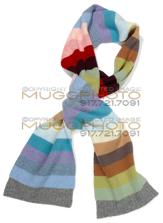 Colorful striped scarf on white background