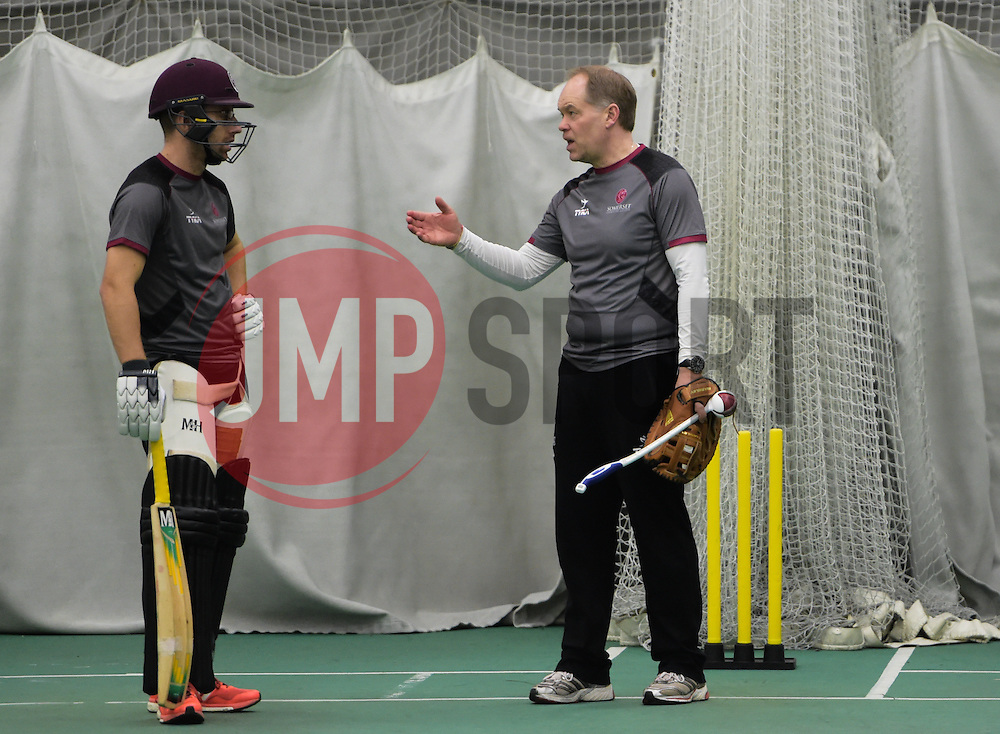 Somerset assistant coach Peter Sanderson coaches Jack Leach. - Mandatory byline: Alex Davidson/JMP - 25/02/2016 - CRICKET - The Cooper Associates County Ground -Taunton,England - Somerset CCC  Media access - Pre-Season