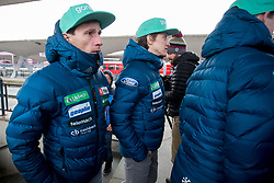 Robert Kranjec and Peter Prevc prior to the driving of Slovenian National Ski jumping Team from Ljubljana by train to the FIS World Cup Ski Jumping Final Planica 2018, on March 21, 2018 in Ljubljana, Slovenia. Photo by Urban Urbanc / Sportida