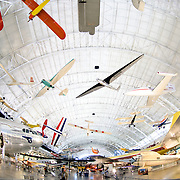 Wide-angle shot of the planes on display at the Smithsonian Air and Space Museum (Stephen F. Udvar-Hazy Center) in Chantilly, Virginia