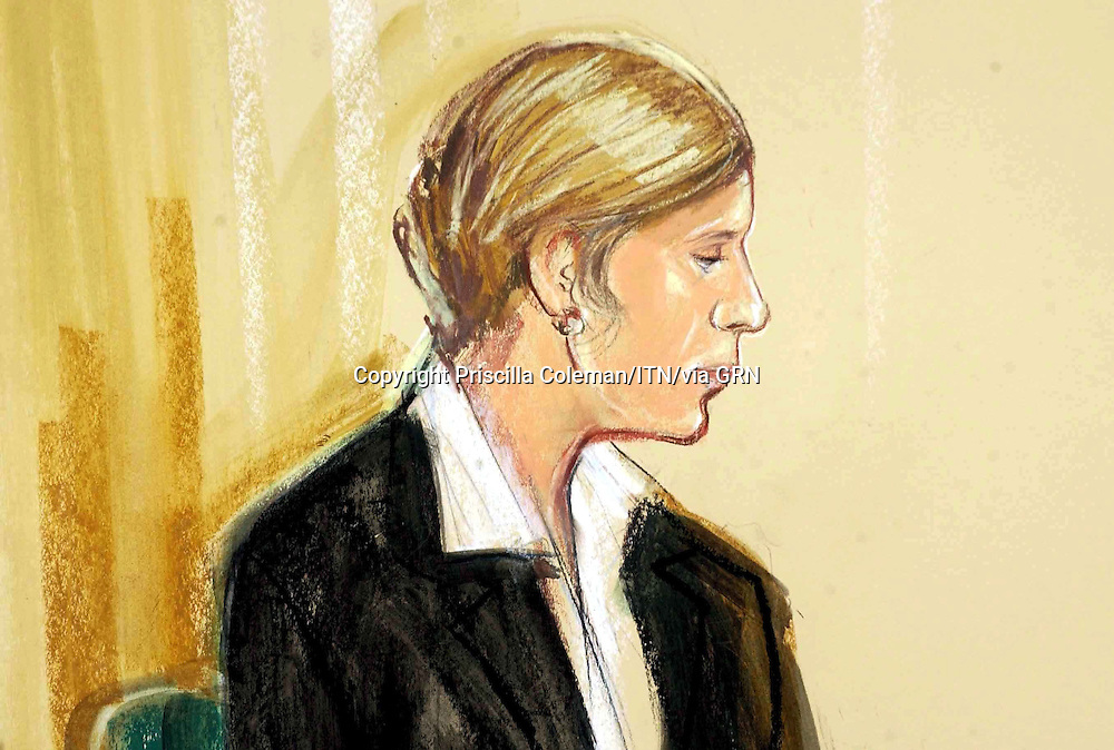 Copyright priscilla Coleman ITV News 21.04.05.Polish nanny Ewa Nokowska, 19 in the dock at the Old Bailey in London today. She is charged with the murder of a baby, Jonathan Adeleye she had in her care.                               .Illustration: Priscilla Coleman ITV News