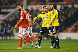 Andre Gray consoled Jonathan Douglas of Brentford after a near miss - Photo mandatory by-line: Rogan Thomson/JMP - 07966 386802 - 05/11/2014 - SPORT - FOOTBALL - Nottingham, England - City Ground - Nottingham Forest v Brentford - Sky Bet Championship.
