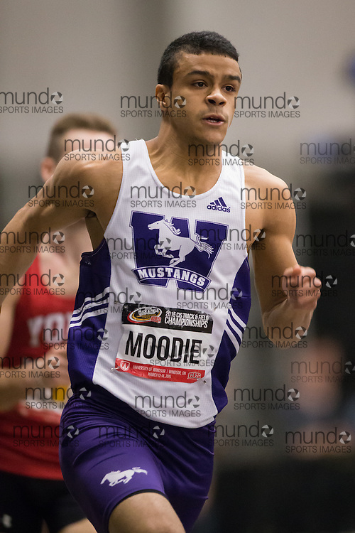 Windsor, Ontario ---2015-03-14---  Triphon Moodie of Western University  competes in the 4x400m relay at the 2015 CIS Track and Field Championships in Windsor, Ontario, March 14, 2015.<br /> GEOFF ROBINS/ Mundo Sport Images