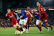 Everton defender Lucas Digne (12) bursts through the defence  during the Premier League match between Liverpool and Everton at Anfield, Liverpool, England on 4 December 2019.