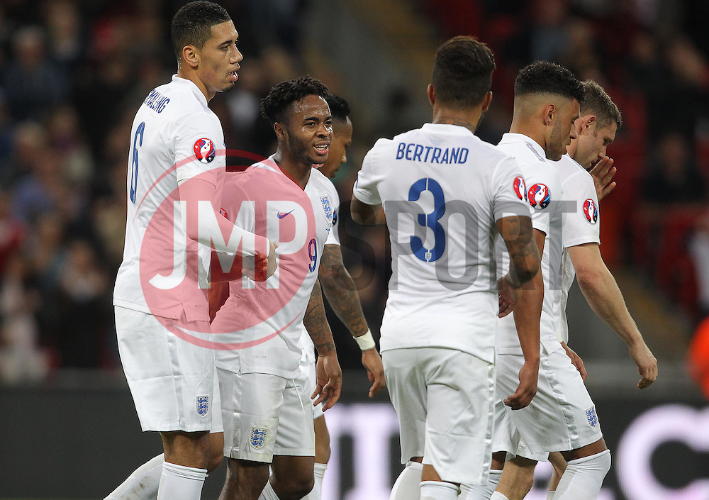 Raheem Sterling ( 2nd L ) of England celebrates after he scores to make it 2-0 - Mandatory byline: Paul Terry/JMP - 07966 386802 - 09/10/2015 - FOOTBALL - Wembley Stadium - London, England - England v Estonia - European Championship Qualifying - Group E