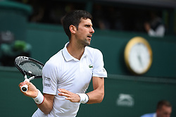 Novak Djokovic (SRB) wins the men final versus Roger Federer (SUI) at the 2019 Wimbledon Championships at the AELTC in London, UK, on July 14, 2019. Photo by Corinne Dubreuil/ABACAPRESS.COM