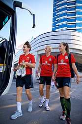 ASTANA, KAZAKHSTAN - Friday, September 15, 2017: Wales' Angharad James, Rhiannon Roberts and Georgia Evans training at the Astana Arena ahead of the FIFA Women's World Cup 2019 Qualifying Round Group 1 match against Kazakhstan. (Pic by David Rawcliffe/Propaganda)