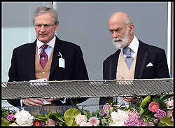 Image ©Licensed to i-Images Picture Agency. 07/06/2014. Prince Michael of Kent (right)  on the Royal Balcony after just arriving at the Investec 2014 Epsom Derby from Paris. Picture by Andrew Parsons / i-Images
