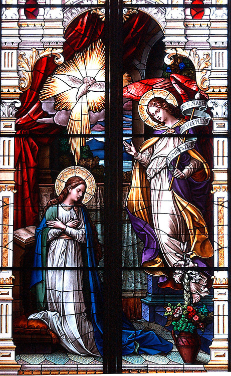 Stained glass of angel appearing to Mary inside Basilica of St. Josaphat in Milwaukee. (Photo by Sam Lucero)