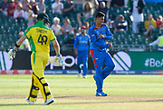 Wicket - Mujeeb Ur Rahman of Afghanistan celebrates taking the wicket of Steve Smith of Australia during the ICC Cricket World Cup 2019 match between Afghanistan and Australia at the Bristol County Ground, Bristol, United Kingdom on 1 June 2019.