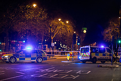© Licensed to London News Pictures. 19/01/2017. London, UK. Victoria Embankment is closed, whilst an wider area of central London is also closed due to the discovery of a World War Two bomb in river Thames. Photo credit : Tom Nicholson/LNP