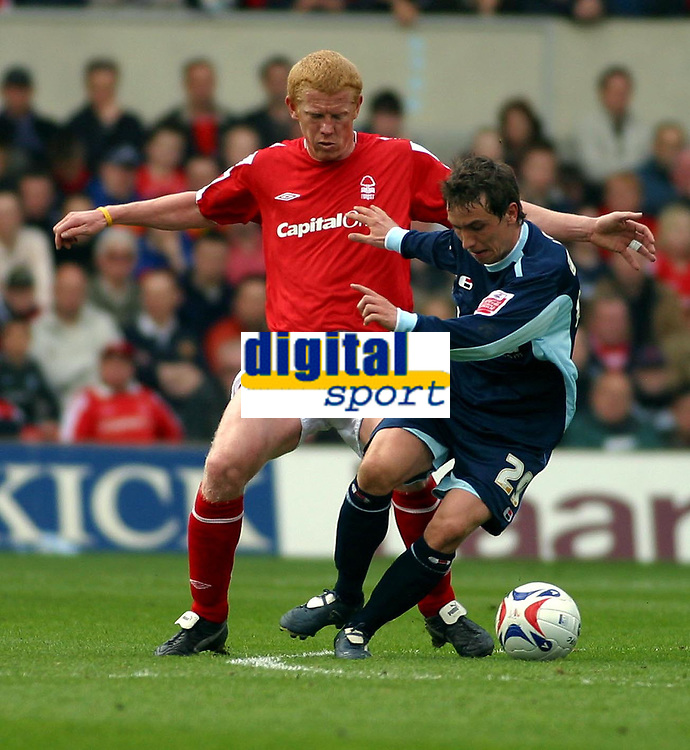 Photo: Dave Linney.<br />Nottingham Forest v Bournemouth. Coca Cola League 1. 29/04/2006.Bournemouth's Steven Foley(R)  keeps  Gary Holt at bay