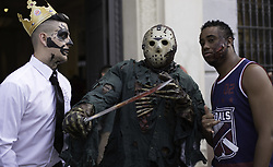 """November 2, 2018 - SãO Paulo, Brazil - SÃO PAULO, SP - 02.11.2018: ZOMBIE WALK SÃO PAULO - People are amused during the """"ZombilkWalk"""" marin  in Viaduto do Chá, central region of thete capital, on the afternoon of Friday (02).02). Thousands of costumed people gathered at the scene. (Credit Image: © Bruno Rocha/Fotoarena via ZUMA Press)"""