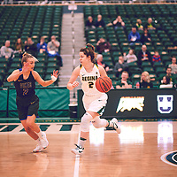 4th year guard, Michaela Kleisinger (2) of the Regina Cougars during the Women's Basketball Home Game on Thu Feb 14 at Centre for Kinesiology,Health and Sport. Credit: Arthur Ward/Arthur Images