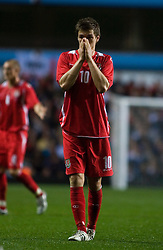 BIRMINGHAM, ENGLAND - Tuesday, October 14, 2008: Wales' Aaron Ramsey dejected against England during the UEFA European Under-21 Championship Play-Off 2nd Leg match at Villa Park. (Photo by Chris Ratcliffe/Propaganda)