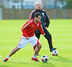 LIVERPOOL, ENGLAND - Tuesday, December 8, 2009: Liverpool's Javier Mascherano and manager Rafael Benitez during a training session at Melwood ahead of the UEFA Champions League Group E match against AFC Fiorentina. (Pic by David Rawcliffe/Propaganda)