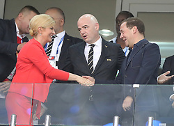 SOCHI, July 7, 2018  Russian Prime Minister Dmitry Medvedev (R), FIFA President Gianni Infantino (C) and Croatian President Kolinda Grabar-Kitarovic are seen prior to the 2018 FIFA World Cup quarter-final match between Russia and Croatia in Sochi, Russia, July 7, 2018. (Credit Image: © Cao Can/Xinhua via ZUMA Wire)