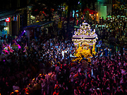30 SEPTEMBER 2017 - BANGKOK, THAILAND: The chariot carrying the deity is pulled through the streets of Bangkok during the Navratri parade. Navratri is a nine night (10 day) long Hindu celebration that marks the end of the monsoon and honors of the divine feminine Devi (Durga). The festival is celebrated differently in different parts of India, but the common theme is the battle and victory of Good over Evil based on a regionally famous epic or legend such as the Ramayana or the Devi Mahatmya. Navratri is celebrated throughout Southeast Asia in communities that have large Hindu population. Bangkok's celebration of Navratri was subdued this year because Thais are still mourning the death of Bhumibol Adulyadej, the Late King of Thailand, who died on October 13, 2016.      PHOTO BY JACK KURTZ