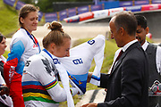 BMX Finals women, Rocco Cattaneo (SUI - UEC President) and Laura Smulders (Netherlands) gold medal during the Cycling European Championships Glasgow 2018, at Glasgow BMX Centre, in Glasgow, Great Britain, Day 9, on August 10, 2018 - Photo luca Bettini / BettiniPhoto / ProSportsImages / DPPI<br /> - Restriction / Netherlands out, Belgium out, Spain out, Italy out -